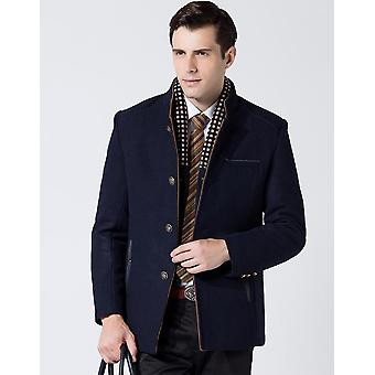 Mannen's Gentle Band Collar Single Breasted Wool Blend Pea Coat