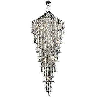 Diyas inspirados - Inina - Colgante de racimo de techo alto 15 cromo pulido ligero, cristal