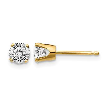 7/10 Carat (ctw I1, J-K) Diamond Solitaire Stud Earrings in 14K Yellow Gold