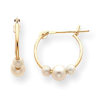 14k Yellow Gold Hollow Polished Moveable Hinged post Freshwater Cultured Pearl Hoop Earrings Measures 13x15mm Jewelry Gi