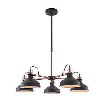 Morgan Telescopic 5 Light, 5 X E27, Sand Black/copper/white
