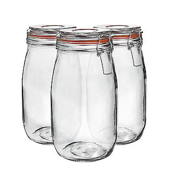 Argon Tableware Glass Storage Jars with Airtight Clip Lid - 1.5L Set - Orange Seal - Pack of 3