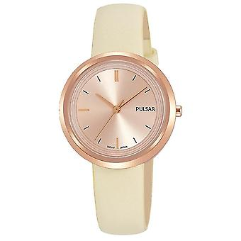 Pulsar Ladies Cream Leather Strap Rose Gold Case And Dial 50M Watch (PH8394X1)