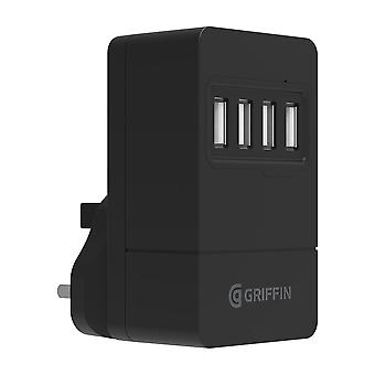 Griffin 4-Poort USB Mains Charger 4.8A 3 PIN UK Zwart