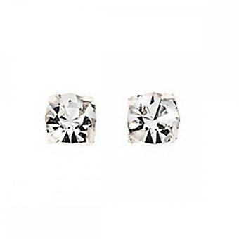 Anfänge Sterling Silber A127C klar Kristall 4mm Kralle Ohrstecker