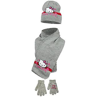Hello kitty girls hat scarf and gloves set stars hk4054hsg
