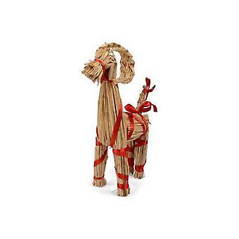 Halmbock Weihnachten Natur/rot 30 cm