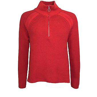 Oui Red Ribbed Knit Jumper