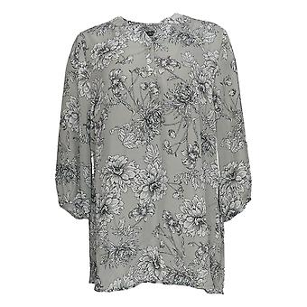 Dennis Basso Women's Top Floral Print 3/4-Sleeve Tunic Gray A346665