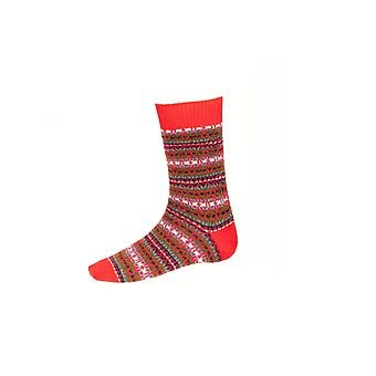 House of Cheviot Gents Fairisle Short Socks ~ Tartan Red