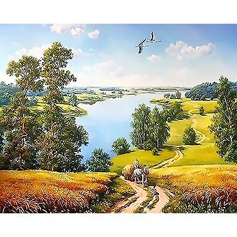 Oil Painting By Numbers City Street Scenery Landscape Kit - Drawing Canvas Hand