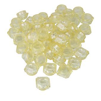 50x tomme plast kosmetiske beholdere 5g gule krukker til Lip Balm