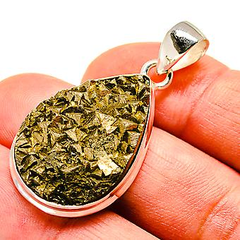"Rough Pyrite 925 Sterling Silver Pendant 1 3/4""  - Handmade Boho Vintage Jewelry PD741690"