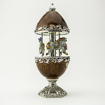 Brown Carousel With White Royal Horses-trinket Box