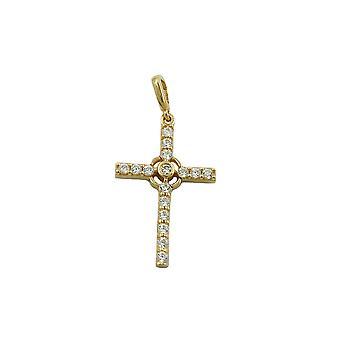 Anheng kryss med zirkonia krystaller 9k gull