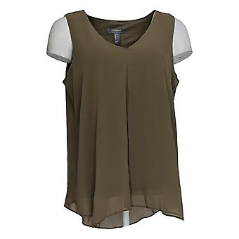 Lisa Rinna Collection Women's Top Solid Sleeveless Tank Brown A385267