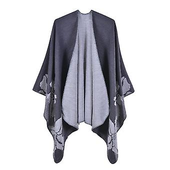 Women's Autumn And Winter Plus Size Flowers Gray Warm Scarf Blanket Shawl