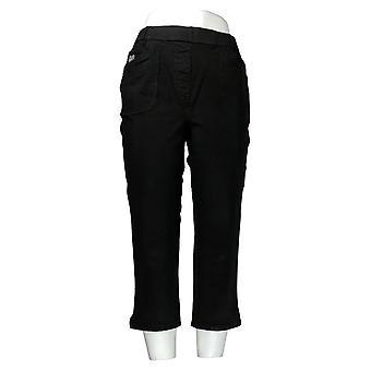 Quacker Factory Women's Jeans Knit Pull-On Straight Leg Crop Black A306460