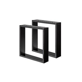Sæt med sorte U bordben 40 cm (ærme 8 x 2) (1 stk.)