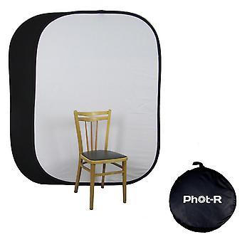 Phot-r 150x200cm black & white collapsible background reversible pop up muslin cotton photo/video ba