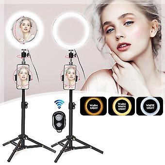 Live stream makeup selfie led ring light with bluetooth remote control cell phone holder (black)