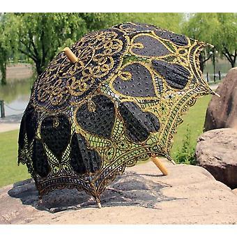 Metallinen lanka Battenburg pitsi kirjonta sydän häät parasoli sateenvarjo