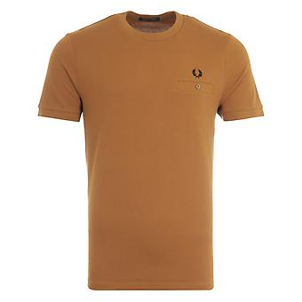 Fred Perry Pocket Detail Pique T-Shirt - Dark Caramel