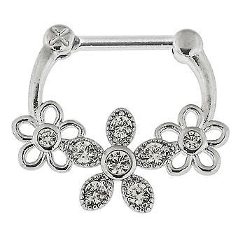 16G=1,2 mm Jeweled Floral Flower Septum Clicker Piercing