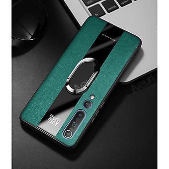 Aveuri Xiaomi Redmi Note 9 Pro Leather Case - Magnetic Case Cover Cas Green + Kickstand