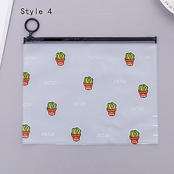 Transparent Pen Zipper Bag, Frosted Cactus Outdoor Painting Pencil Sticky Note
