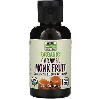 Now Foods, Real Food, Organic Monk Fruit, Édulcorant liquide zéro calorie, Caramel, 1,8 fl oz (53 ml)
