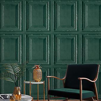 Rustic Wood Panel Wallpaper Green Grandeco A49204