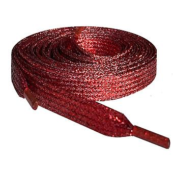 Red Metallic Flat Glitter Shoelaces
