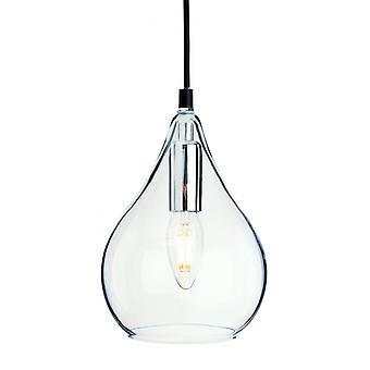 Lámpara Colgante Omar 15 Cm, Cromo Y Cristal.