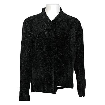 Anybody Women's Sweater Chenille Tie Front Cardigan Black A372139