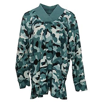 Cuddl Duds Dames's Top Fleecewear Stretch V-Hals Tuniek Groen A381794