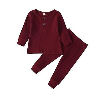 2-częściowe Solid Piżama Cute Cotton Long Sleeve Unisex Underwear O Neck Romper