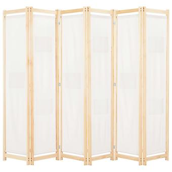6-Panel Room Divider Cream 240x170x4 cm Fabric