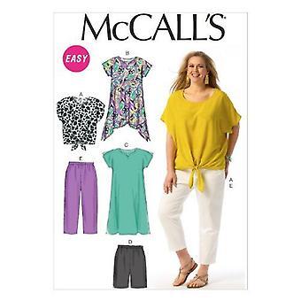 McCalls Sewing Pattern6971 Womens Top Tunic Dress Shorts Pants Size 18W-24W