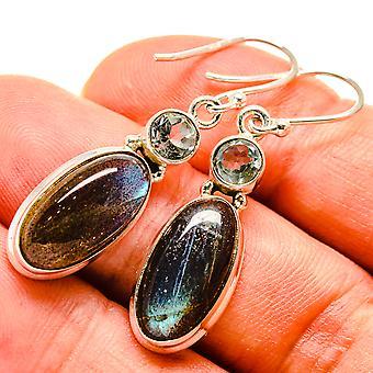 """Labradorite, Blue Topaz Earrings 1 1/2"""" (925 Sterling Silver)  - Handmade Boho Vintage Jewelry EARR414796"""
