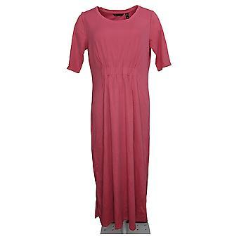 H van Halston Dress Ruched Waist Elbow-Sleeve Midi Pink A351204