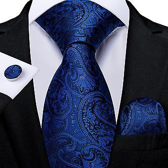 Royal Blue Tie Pocket Square Manchetknapper Set-Slips-8 stil