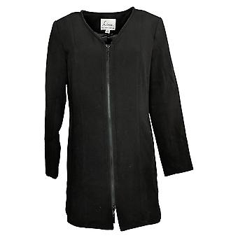 Linea by Louis Dell'Olio Women's Jacket Reg V-Neck Zip-Front Black A397589
