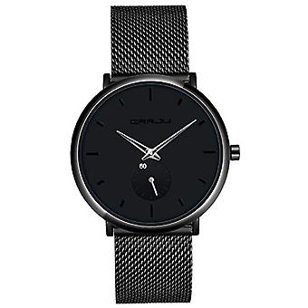 SUPBRO Ultra thin black men's watches in minimalist quartz fashion with black mesh strap(2)
