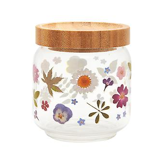 Sass & Belle Small Pressed Flowers Glass Storage Jar