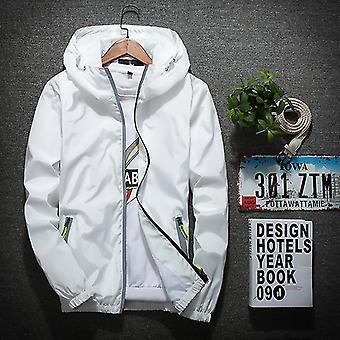 Xl blanc sports casual coupe-vent veste tendance sports hommes veste extérieure fa0152