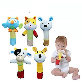 5pcs Cat Cow Rabbit Dog Owl Shaking Rattle Stick Colorful Baby Hand Grab