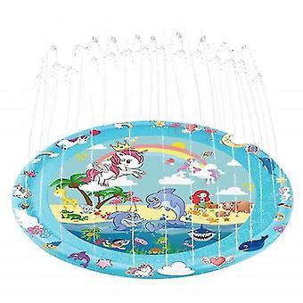 3-en-1 Splash Pad, 67in rociadores inflables para niños y piscina para niños pequeños para el aprendizaje (unicornio redondeado)
