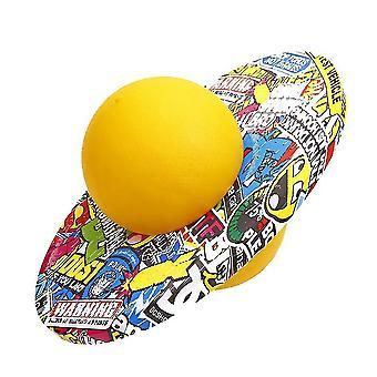Explosion Proof Elastic Pogo Ball, Fitness Equipment New Graffiti Round Board Adult(YELLOW)