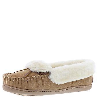 Minnetonka Womens Flora Folded Trapper Leather Closed Toe Slip On Slippers